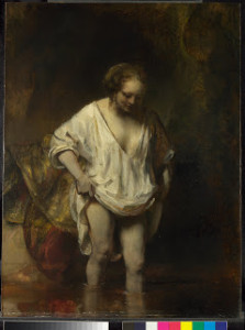 A Woman bathing in a Stream (Hendrickje Stoffels), Rembrandt 1654. ∏ The National Gallery London