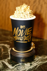 """""""BURBANK, CALIFORNIA - APRIL 07: (EXCLUSIVE ACCESS, SPECIAL RATES APPLY) A view of the Golden Popcorn award during the 2016 MTV Movie Awards Press Junket at Warner Bros. Studios on April 7, 2016 in Burbank, California. (Photo by Randy Shropshire/MTV1415/Getty Images for MTV)"""""""