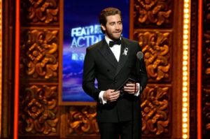 NEW YORK, NY - JUNE 12:  Presenter Jake Gyllenhaal speaks onstages during the 70th Annual Tony Awards at The Beacon Theatre on June 12, 2016 in New York City.  (Photo by Kevin Mazur/Getty Images for Tony Awards Productions)