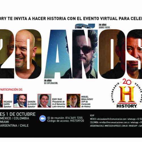HISTORY CELEBRA 20 AÑOS DE HISTORIA Y ENTRETENIMIENTO EN AMÉRICA LATINA